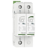 CPT AC Surge Protection Device, Type 2, 2 poles, Single Phase, 40kA(8/20),230V TT, earthing system