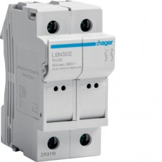 HAGER PV Fuse Switch Disconnect 2P 32A 690V rated, including TWO 20A 10x38 PV Fuse